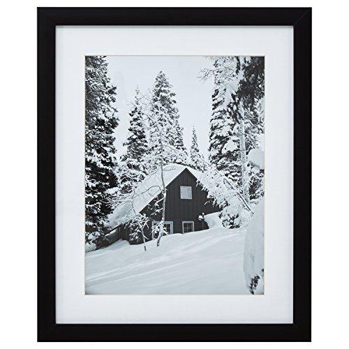 Modern Black and White Cabin in Snow Photo, Black Frame, 18