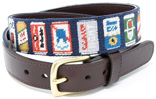 Beer Can Needlepoint Men's Belt Hand-stitched Using Top Quality Cotton on Full Grain Leather Backing (Size 38)