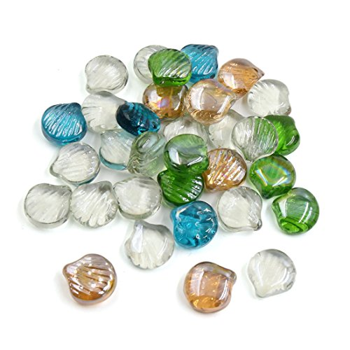 uxcell 500g Multicolor Glass Scallop Shaped Fish Tank Aquarium Decor Pebble Bead -