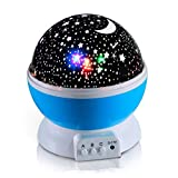 1080P Led Tv - Novelty Night Light, 360 Degree Rotating Cosmos Sky Moon Star Projector, Bedroom Lamp for Children Kids (Blue)