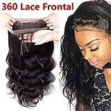 Brazilian Virgin Hair 360 Closure Body Wave 14 inch 360 Frontal 100% Human Hair Body Wave 360 Lace Frontal Closure with Baby Hair Pre Plucked 360 Frontal Body Wave(14 inch)