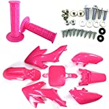 Race-Guy Pit Bike Pink Fairing Plastic Fender Bolt Screws Kits Throttle Grips For Honda Dirt CRF50 XR50 50cc 90cc 110cc 125cc 150cc 160cc