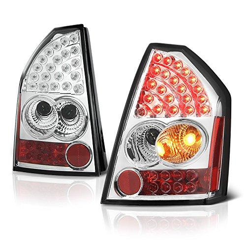 VIPMOTOZ Chrome Bezel Premium LED Tail Light Housing Lamp Assembly For 2005-2007 Chrysler 300C Driver and Passenger Side Replacement ()