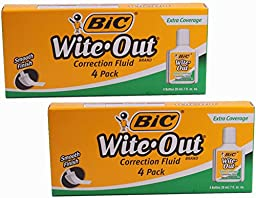 BIC Wite-Out Extra Coverage Correction Fluid, .7 Ounce, 4 Count, (Pack of 2)