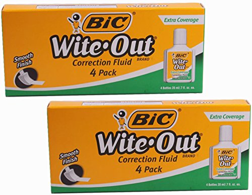 BIC Wite-Out Extra Coverage Correction Fluid, .7 Ounce, 4 Count, (Pack of 2) -