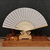 White Japanese Chinese Handmade Plain Hand Fan Folding Fan Wedding Birthday Party Favors Deco Mariage