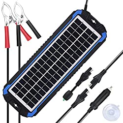 SUNER POWER 12V Solar Car Battery Charger & Maintainer - Portable 4W Solar Panel Trickle Charging Kit for Automotive, Motorcycle, Boat, Marine, RV, Trailer, Powersports, Snowmobile, etc.