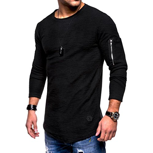 OWMEOT 00% Cotton Mens Casual V-Neck Button Slim Muscle Tops Tee Short Sleeve T- Shirts (Black, 2XL) by OWMEOT