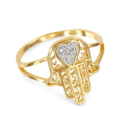 14k Yellow Gold Diamond Pave Heart Filigree Hamsa Ladies Ring (Size 11)