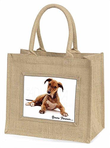 Advanta Lurcher dogyours Forever Große Einkaufstasche/Weihnachten Geschenk, Jute, beige/natur, 42x 34,5x 2cm
