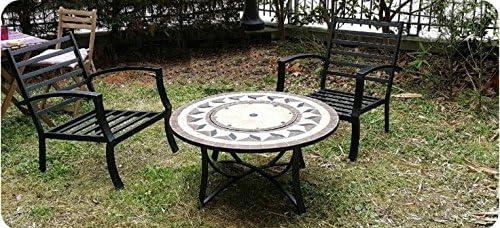 Salón de jardín mesa baja redonda + 4 sillas filae aspecto hierro forjado y mosaico (negro, beige): Amazon.es: Jardín