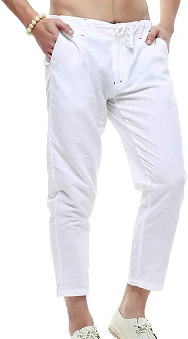 Pantalones De Lino Casuales Para Hombres Con Cuatro Bolsillos Pantalones Asiaticos Largos Relajados 4 Colores Negro Azul Caqui Amazon Es Ropa Y Accesorios