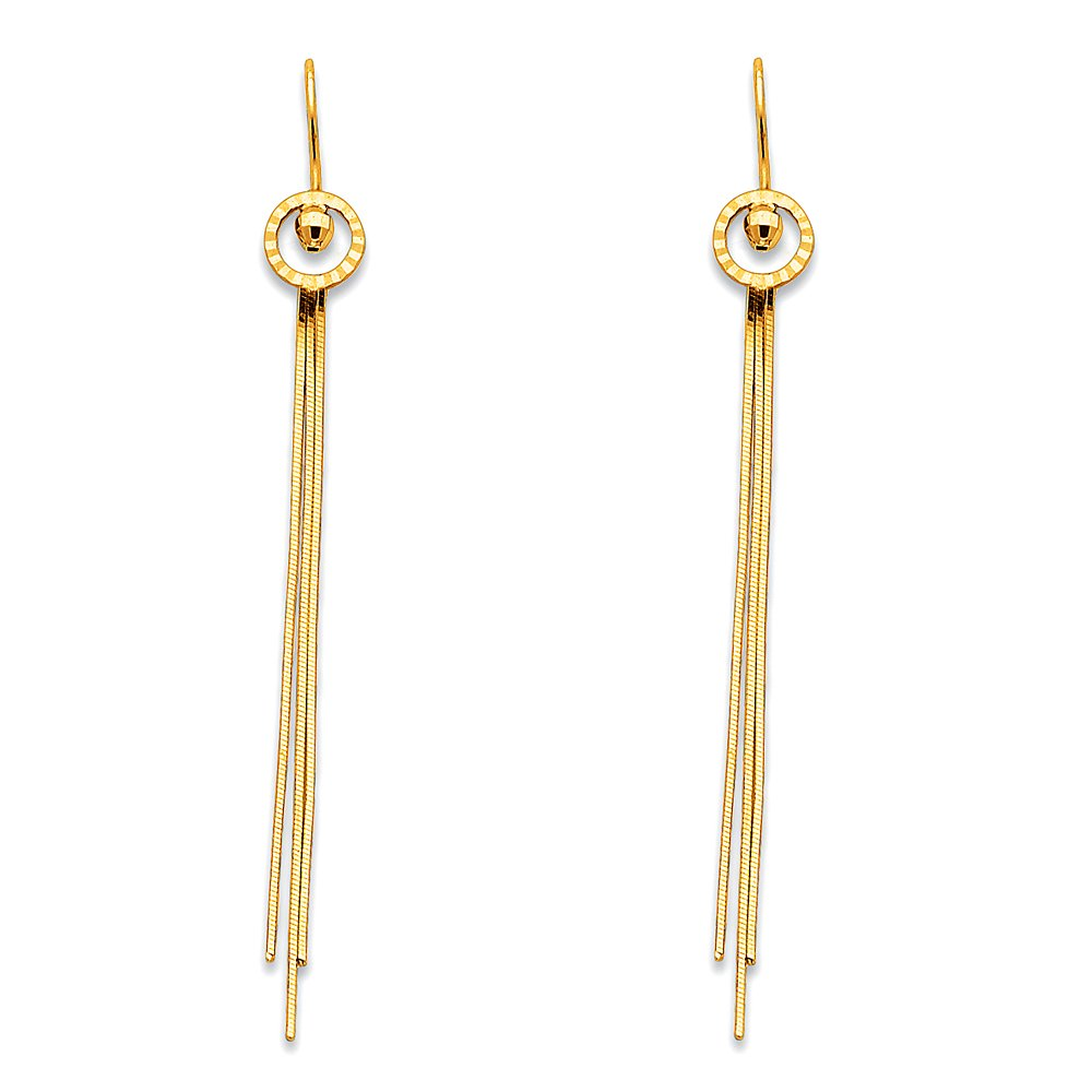 Long Chains Hanging Earrings Solid 14k Yellow Gold Round Post Dangling Chains Style Genuine 65 mm by ZenJewels