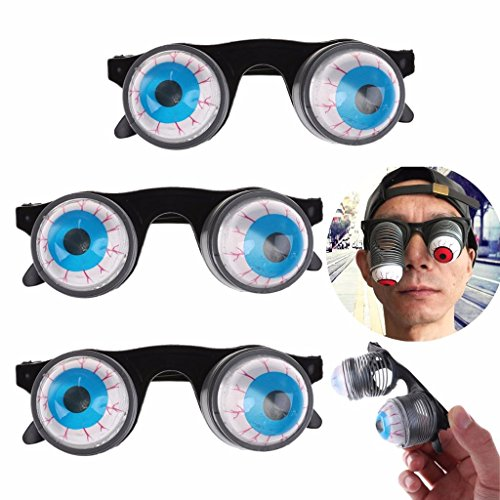 TUANTUAN 3 PCS Pop Out Eye Dropping Eyeball Glasses Funny Gags Practical Jokes Toys Horror Scary Prank Toy for Adult Children Kids Gift -