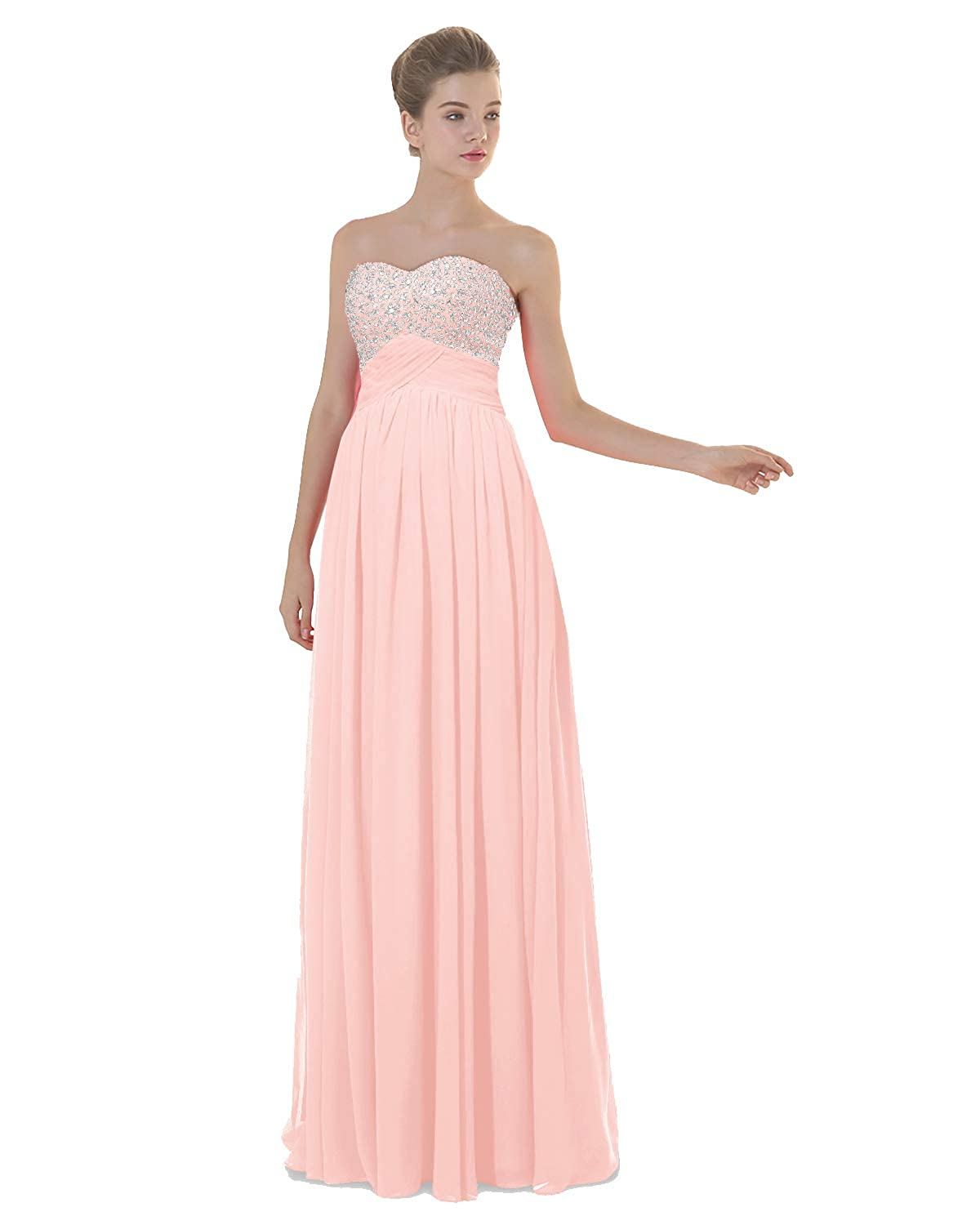 Pink ANGELWARDROBE Empire Beaded Sweetheart Neck Prom Gowns Long Evening Dresses Party Skirts