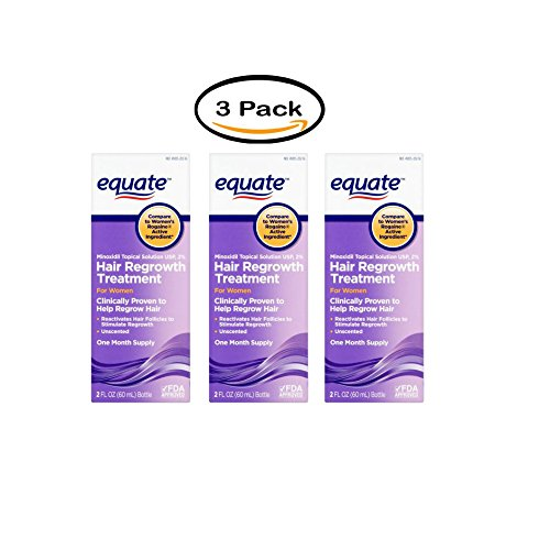 Pack of 3 - Equate Hair Regrowth Minoxidil Topical Solution