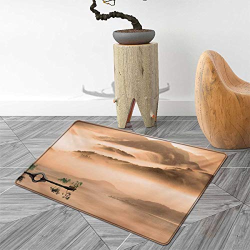 Art Floor Mat for Kids Chinese Lake Landscape Before Majestic Foggy Mountains in Mist Clouds Dramatic Hill View Door Mat Increase 4'x5' Peach ()