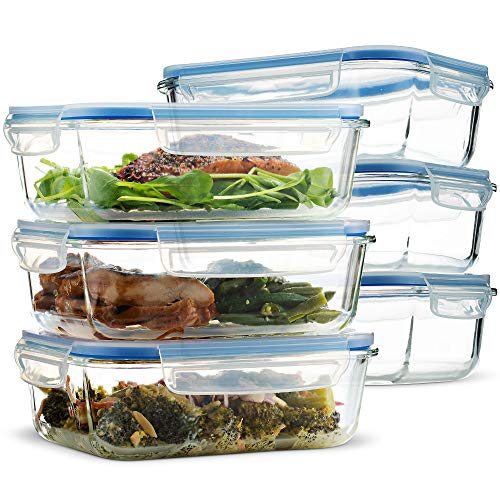 Superior Glass Meal Prep Containers - 6-Pack (35.5oz) BPA-Free Airtight Food Storage Containers with 100% Leak Proof Locking Lids, Freezer to Oven Safe Great on-The-go Portion Control Lunch Containers (Glass Dish Divided)