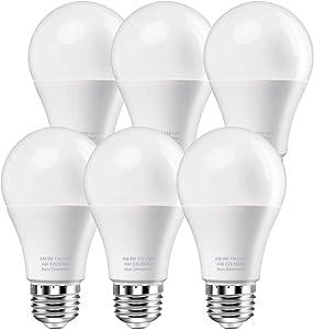 WEIPIN Led Light Bulbs, 9W Led Bulbs 60 Watt Equivalent, Energy Saving LED Lightbulbs, 20000 Hour Lifetime, E26 Base, Daylight White 5000K 800 Lumen Standard Replacement Lights, Non-Dimmable, 6 Pack