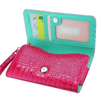 High Quality Leather Wallet Flip Carrying Case Pouch for ZTE nubia Z7 Max - with Card Holder and Removable Strap - Crocodile Pattern - Magnetic Clasp for Easy Phone Access - (Hot Pink Plus Interior Green) + Mini Touch Screen Stylus