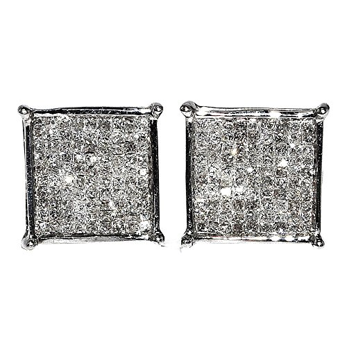 Princess Cut Diamond Earrings 10K White Gold Large 10mm Square 0.75ctw Screw Back