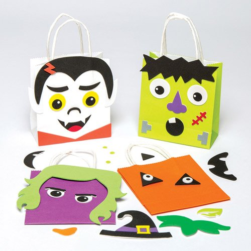 Halloween Treat Bag Kits for Children to Decorate Personalize and Fill with Sweets Perfect for Trick or Treating (Pack of 4) (Paper Bag Ideas For Halloween)