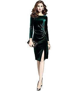 ZKOO Vintage Donna Lunghi Vestiti in Velluto Maniche Lunghe Abiti Eleganti  Slim Fessura Cocktail Partito Abito 0e6ee790312