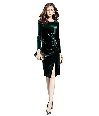 promo code 77c9d 037a3 ZKOO Vintage Donna Lunghi Vestiti in Velluto Maniche Lunghe Abiti Eleganti  Slim Fessura Cocktail Partito Abito