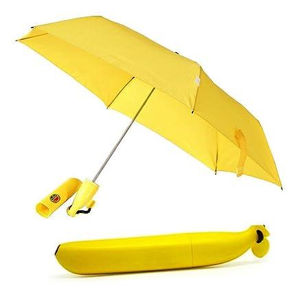 Paraguas plegable portátil/solar Superbison lluvia paraguas al aire libre en forma de plátano Amarillo