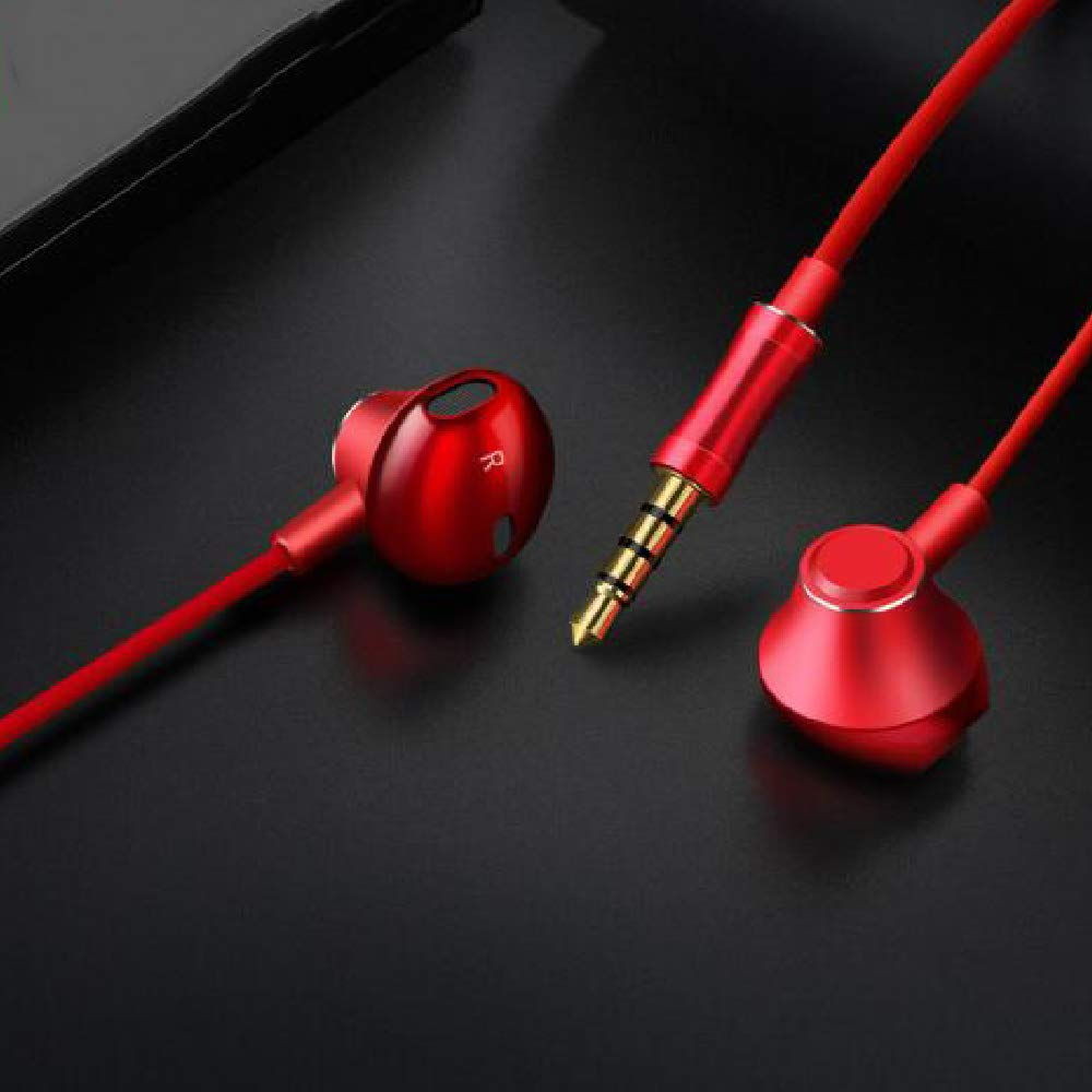 Noise Isolating In Ear Earphones Headphones with Microphone Pure Sound Powerful Bass Wired Earbuds Headset Compatible with iPhone iPad Samsung Honor Huawei Galaxy-(Red)