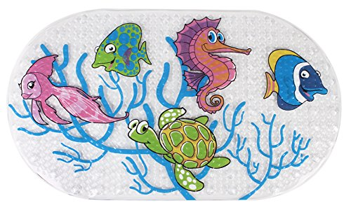 Yimobra Original Bath tub Shower Mat Kids Anti Bacterial,Phthalate Free,Latex Machine Washable Cartoon Pattern Mats Materials 27X15.5 Inch(Fish)
