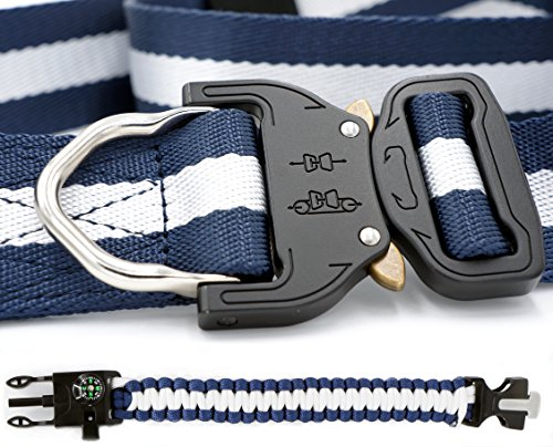 "- Nylon Tactical Belts for Men - 1.5"" Heavy Duty Waist Belts, Metal Buckle, Quick Release Belt + 5-in-1 Survival Wristband (2-Piece Set) 