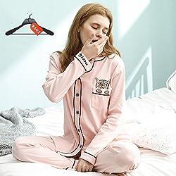 Conjuntos de Pijama de Manga Larga para Damas Pijamas Ropa de hogar de algodón se Puede Usar afuera Rebeca de Servicio a Domicilio de Dos Piezas (Size : XXL)