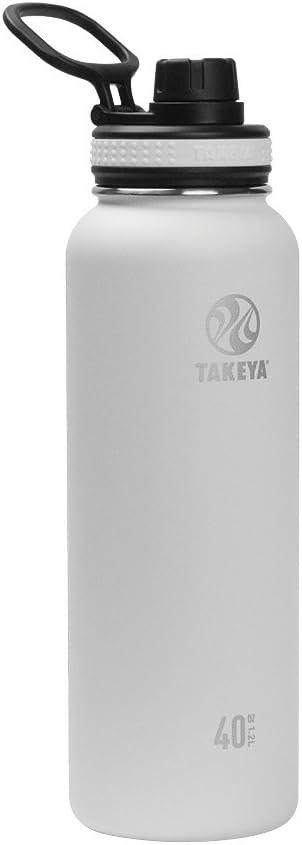 Takeya Originals Vacuum-Insulated Stainless-Steel Water Bottle, 40oz, White