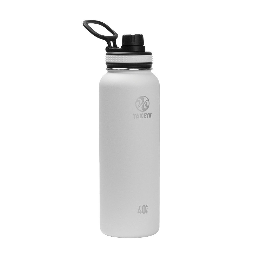 Takeya 50022 Originals Vacuum-Insulated Stainless-Steel Water Bottle, 40oz, White, 40 oz,