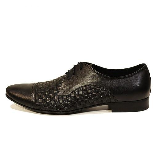 897db4d6780 Modello Pascasio - Cuero Italiano Hecho A Mano Hombre Piel Negro Zapatos  Vestir Oxfords - Cuero Cuero Repujado - Encaje  Amazon.es  Zapatos y  complementos