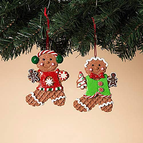 - Gerson Gingerbread Boy & Girl Waffle Cone Holiday Ornaments - Set of 2
