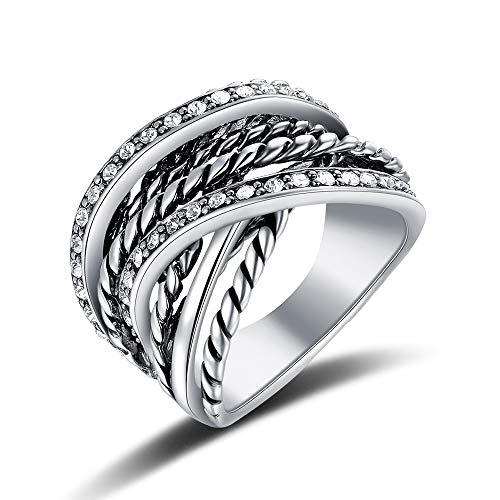 Mens Yurman David Rings - Mytys Vintage Silver Interwined Wide Band Ring CZ Pave Rings for Women Men Size 7