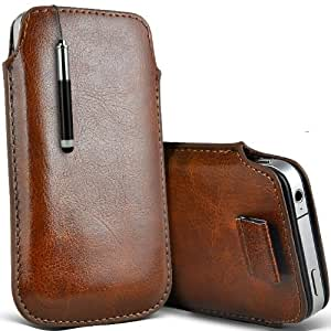 ONX3 Zte open C Leather Slip cuerda del tirón de la PU de protección en la bolsa Quick Case Desc y Mini capacitivo Stylus Pen retráctil (Brown)