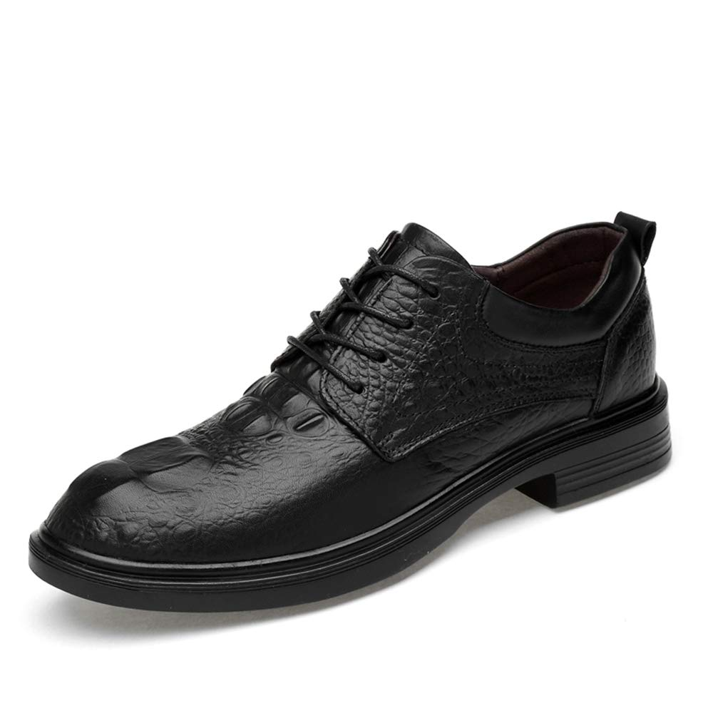 Crocodile Black DOLDT1 Men's Business Casual Oxfords Comfortable Crocodile Pattern Low Top Lace Up Big Size Formal shoes(Smooth Black,Suede Black,conventional is optional) Men Formal Classic Comfortable Business shoes