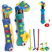 Kids Golf Club Set Garden Plastic Toy Cart Caddy Balls Bag Summer Beach Outdoor