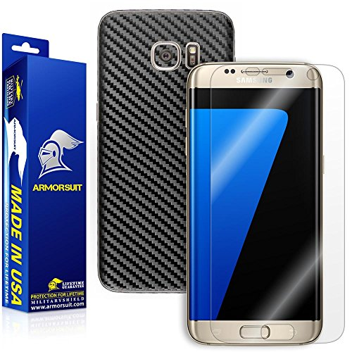 Armorsuit MilitaryShield Samsung Galaxy S7 Edge Screen Protector [Full Coverage] + Black Carbon Fiber Full Body Skin/Front Anti-Bubble Ultra HD Shield w/Lifetime Replacements