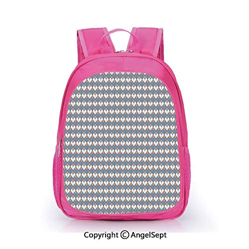 Children Schoolbag Cute Animal Cartoon Custom,Modern Nested Repeating Diamond Line Pattern with Vertical Lines Slate Blue Dried Rose White,15.7inch,Fashion Lightweight School Backpack