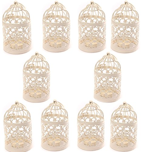 Yonger Metal Tealight Hollow Candle Holder Hanging Lanterns Creative Home Centerpiece Bridal Wedding Xmas Party Decor Birdcage White( 3.1x 5.6Inch ) (Lantern Wedding Centerpieces)