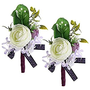 Febou Boutonniere Pack of 2 Wedding Boutonniere for Groom Bridegroom Groomsman Perfect for Wedding, Prom, Party (A-White) 19
