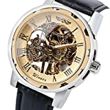 Hot Sale,Todaies Classic Men's Black Leather Dial Skeleton Mechanical Sport Army Wrist Watch