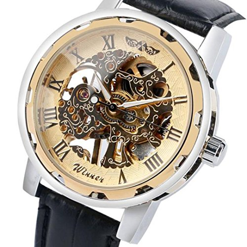 Hot Sale,Todaies Classic Men's Black Leather Dial Skeleton Mechanical Sport Army Wrist Watch (1Pc, - Black Dial Mechanical Skeleton