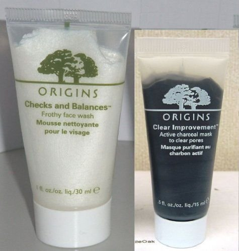 Origins Travel Set: Check and Balance Frothy Face Wash 30ml/1 Oz+origins Clear Improvement Active Charcoal Mask to Clear Pores 15 Ml/0.5 Oz