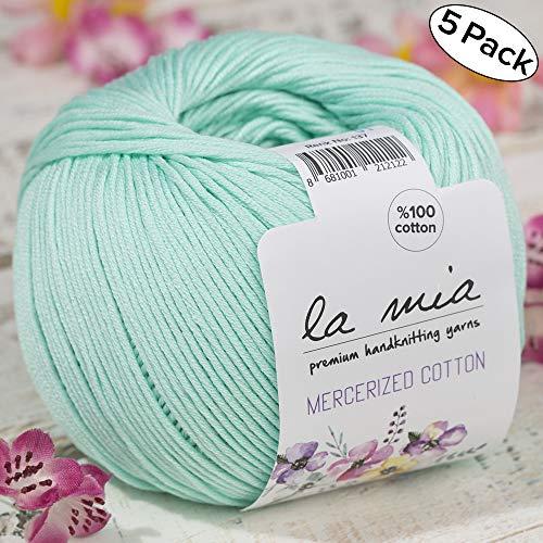 5 Ball%100 Mercerized Cotton Total 8.8 oz. Each 1.76 oz (50g) / 147 Yrds (135m) Super Soft, Dk Light Baby Yarn, Light Green - 137 -
