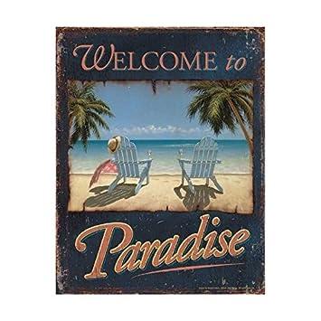 Amazon.com: Bienvenido a Paradise océano playa Scenic cartel ...